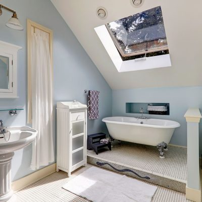 attic converted into bathroom