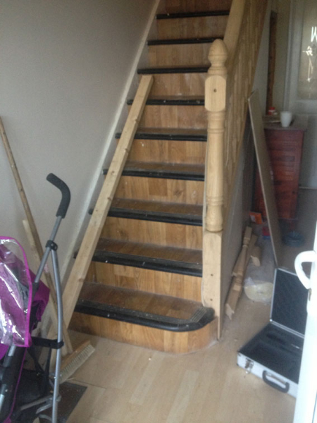 wooden stairs installation project