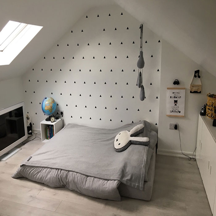 attic converted in to bedroom